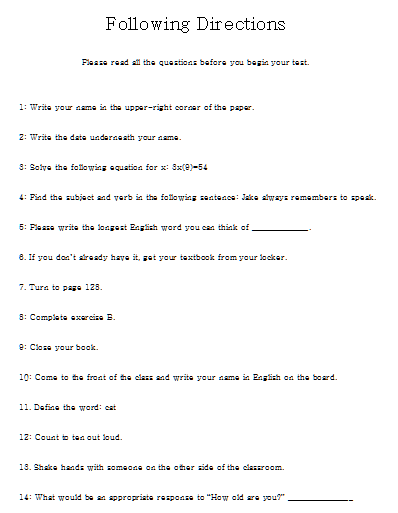 fun middle school worksheets